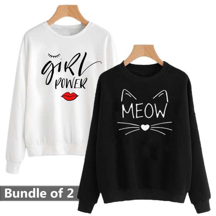 Bundle of 2 Meow & Girl Power Printed Sweat Shirts