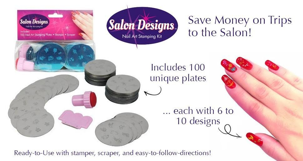 Nail Art Stamping Kit 100 Manicure Plate Set With Polish Stamper