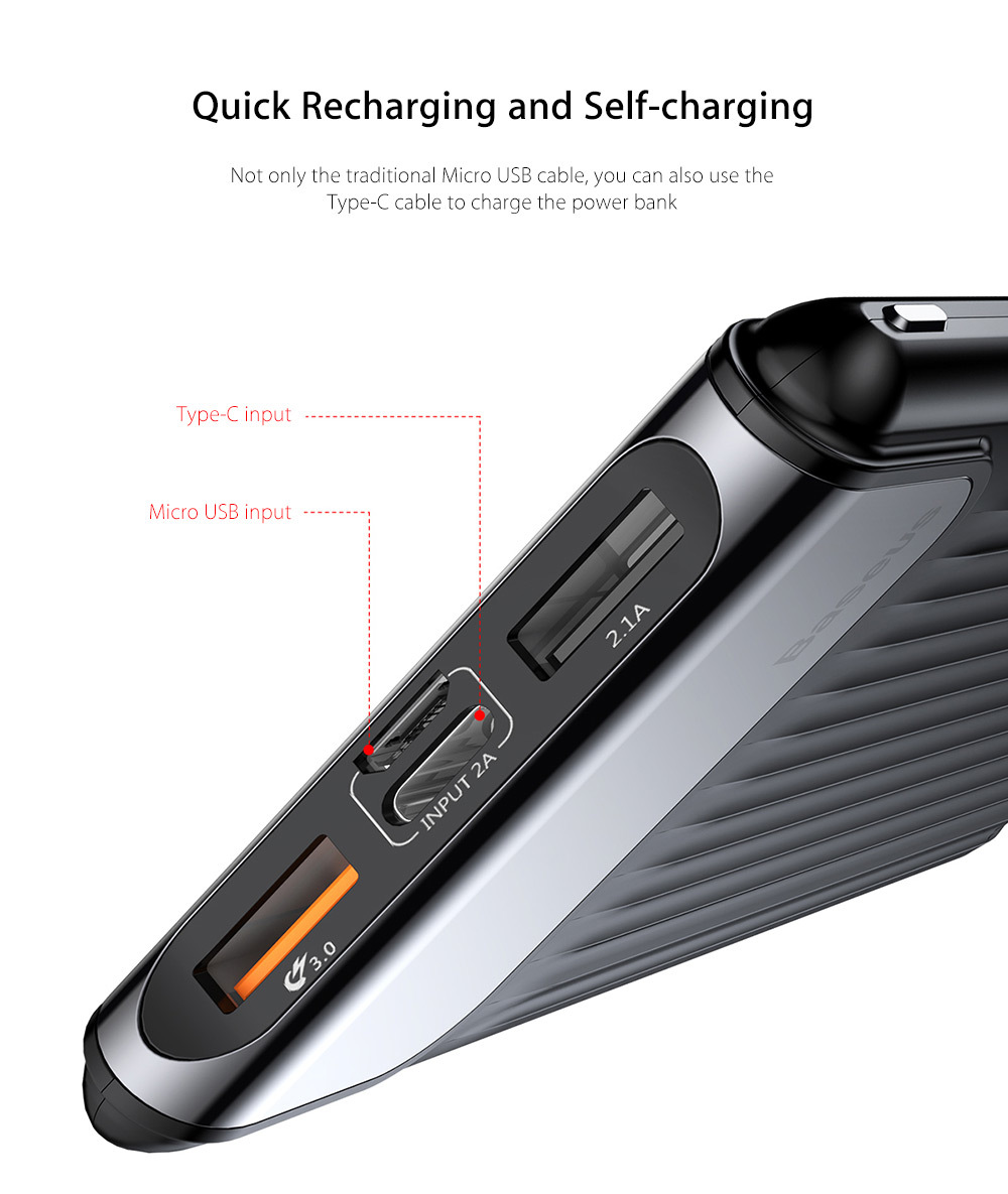 Baseus Thin Digital Display 10000mAh Power Bank QC 3.0 Dual USB Micro USB Type-C Input External Battery Charger