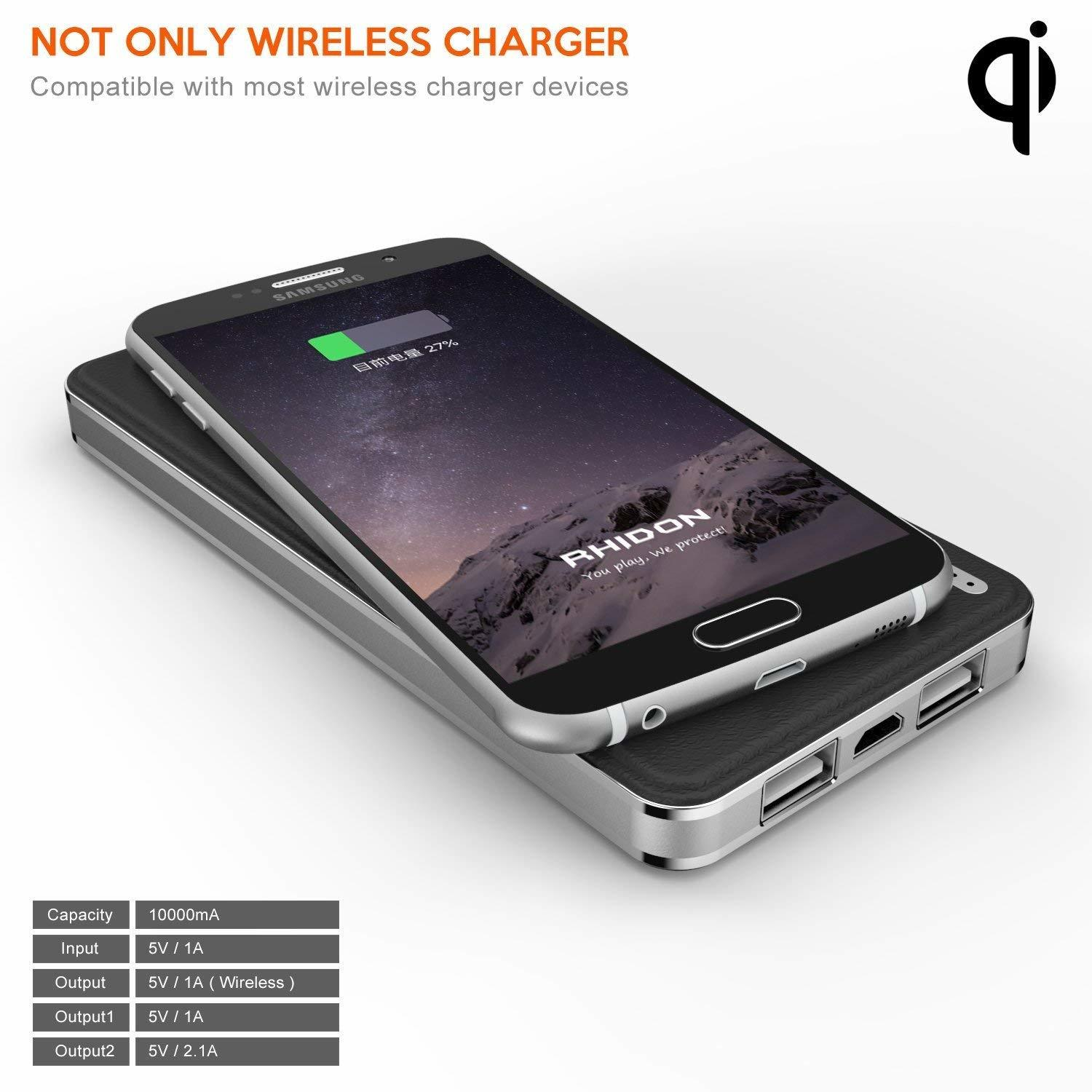 Qi Wireless Charger Power Bank 10000 Mah Buy Sell Online Best 10000mah Place Your Cell Phone On The Padthen Turn Buttonthe Wirelss Base Will Automatic Display Blue Light