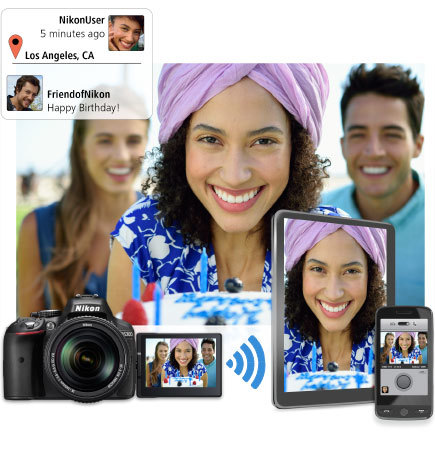Image of three people, inset with shots of the photo on the camera's LCD, on a smartphone and a tablet, with social media messages