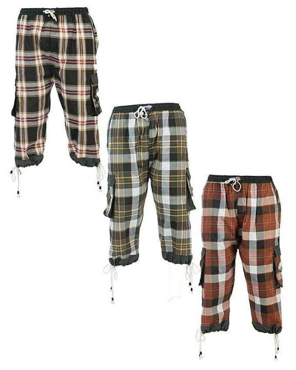Pack of 3 - Multi Color Cotton Checkered Cargo Shorts for Men
