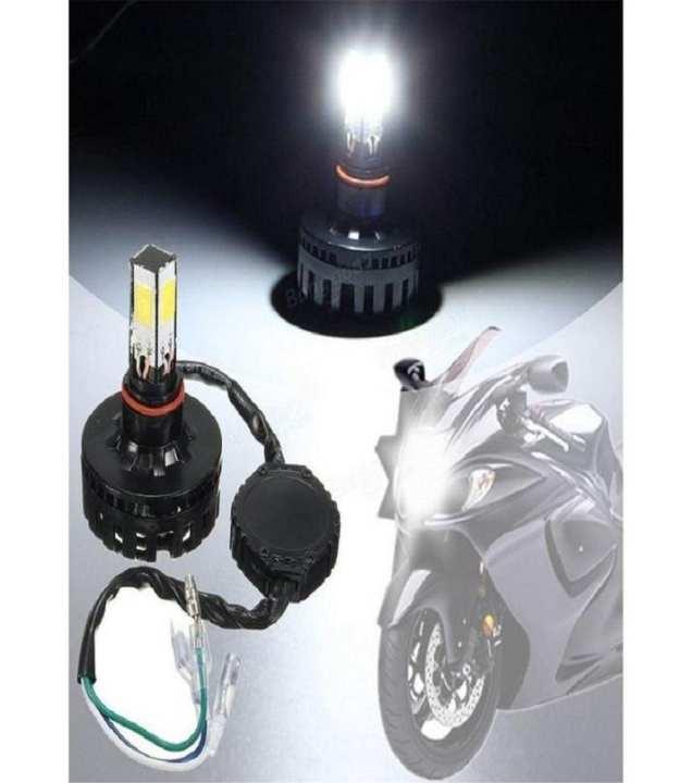led fan headlight for motorcycle - black