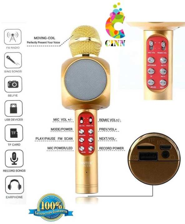 Wireless Bluetooth Karaoke Microphone Mic Usb Speaker Home Ktv Play (F)