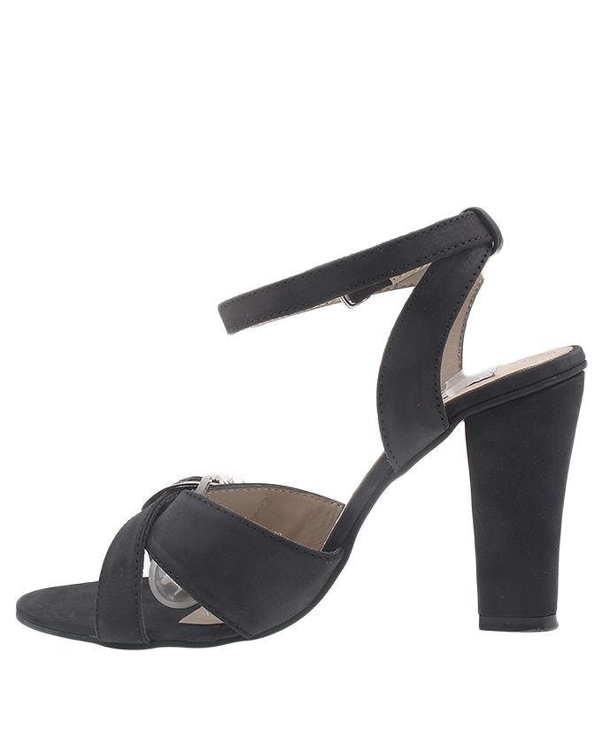 Black Leather High Heel Sandals for Women - CS1