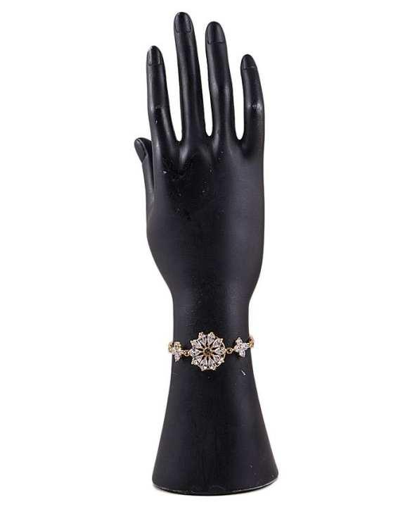 Golden Zircon & Alloy Studded Bracelet for Women - M-9