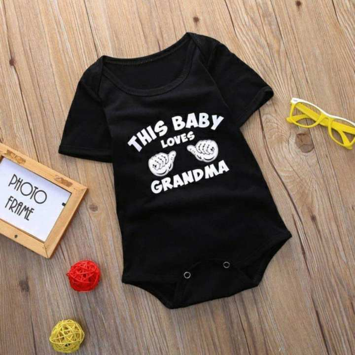 Summer Baby Unisex Short Sleeves Gesture & Letters Printing Triangle Romper black 6-9 months