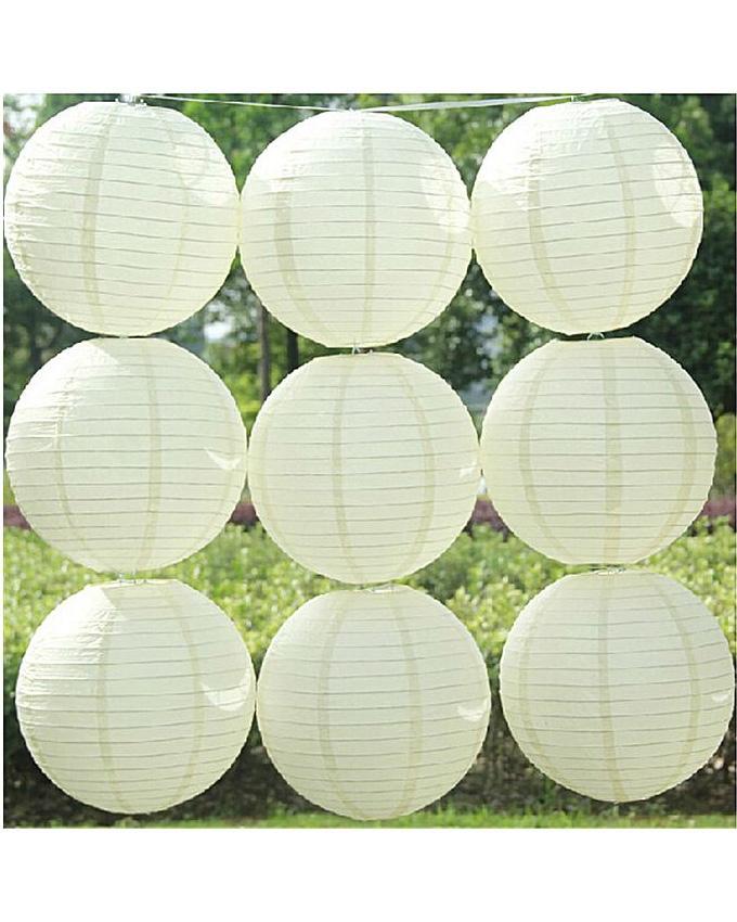 Pack Of 9 White Paper Lantern