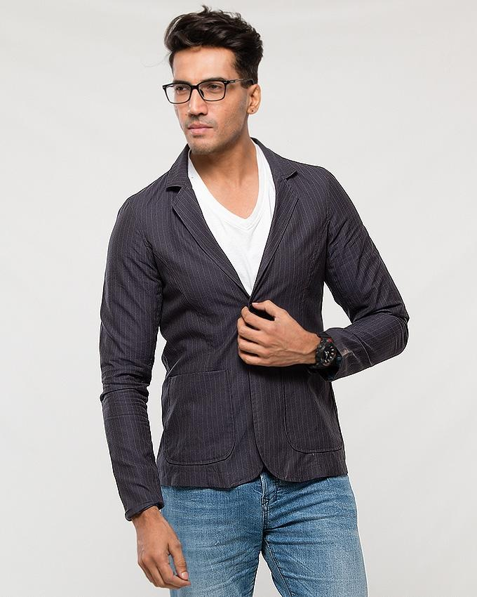 e245a37647 Dark Grey Pin Stripes Cotton Blazer with Lining for Men