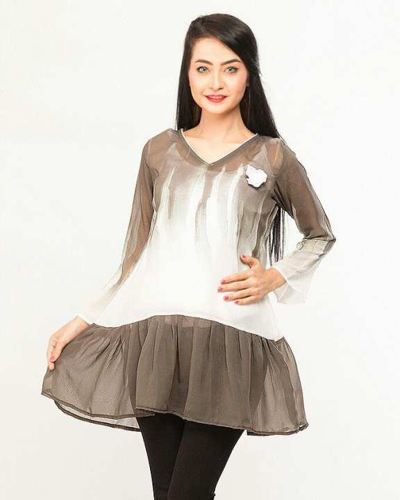 White and Grey Chiffon Tunic For Women