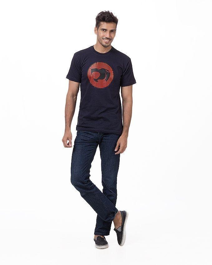 Navy Blue Cotton Printed Thunder Cat T-Shirt For Men
