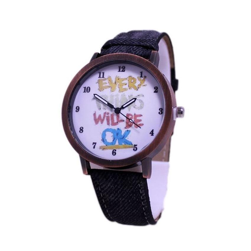 Every Things will be Ok -Black Leather Watch