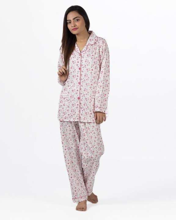Pink Cotton Nightsuit For Women - Pink Cotton Night Suit