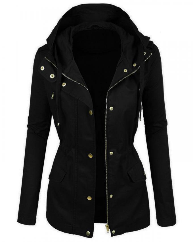 Black Cotton Parka Jacket For Women