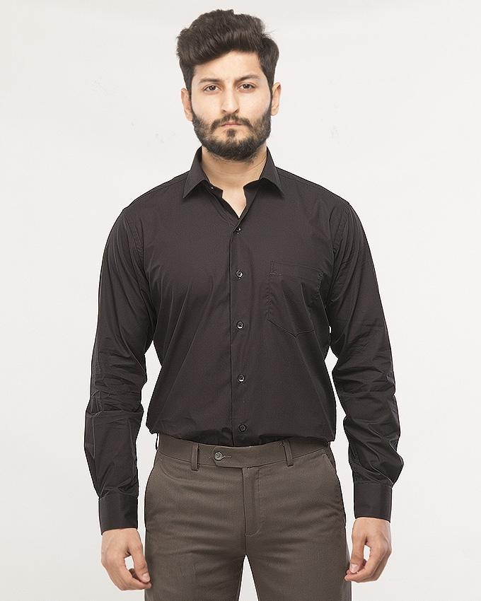 4ac149995fbf01 Black Cotton Formal Shirt For Men