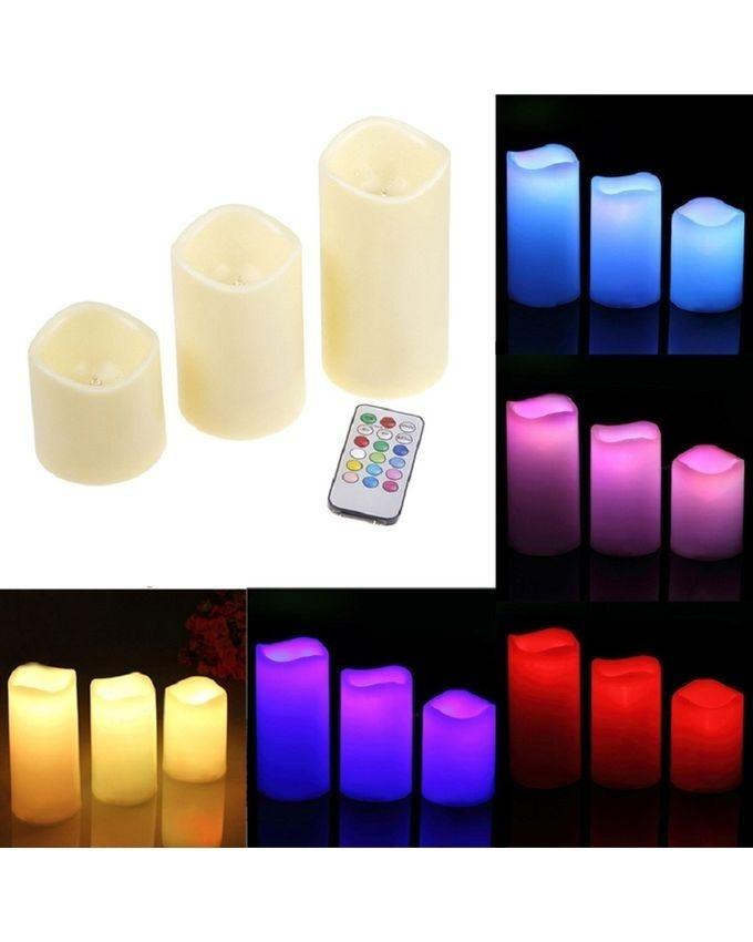LED Remote Controlled Candles - 3 Pcs