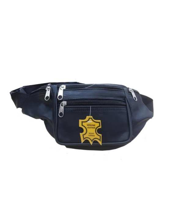 Leather Travel Waist Belt Bag - Black