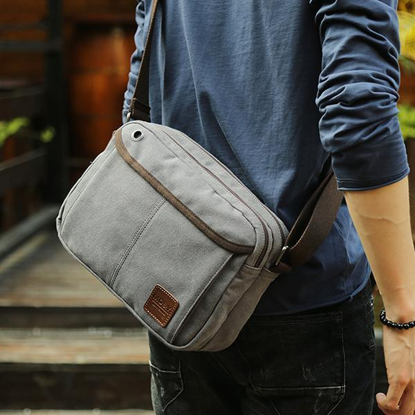 7f2663c103 Men Canvas Vintage Leisure Crossbody Bag Solid Horizontal Shoulder Bag  Weekend Bag grey  Buy Online at Best Prices in Pakistan