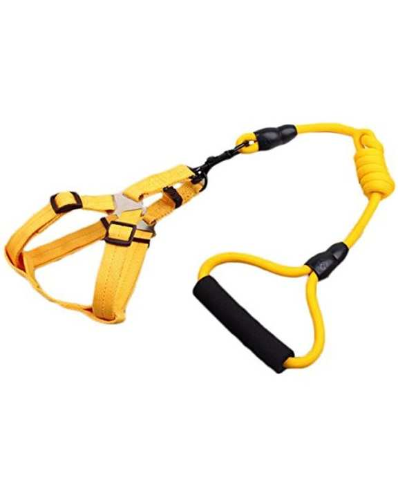 Pet Harness With Leash-Nylon-2041-Yellow