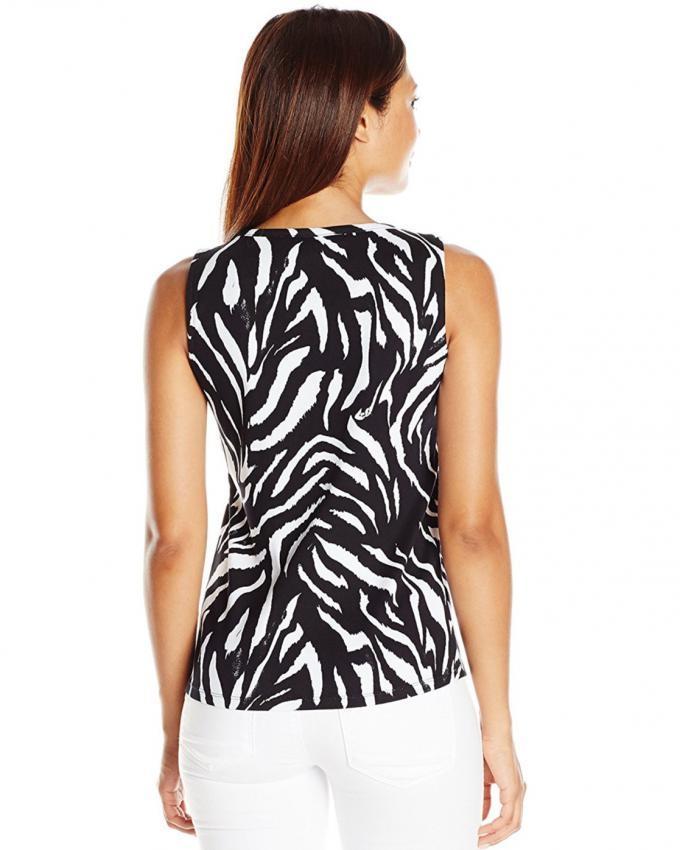 Black & White Fleece Zebra Printed Top For Women