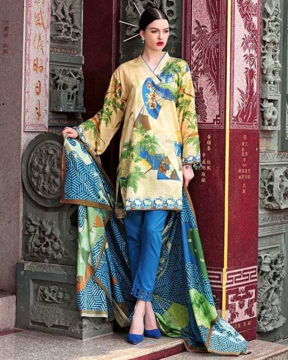 Gul Ahmed - Blue Normal Printed 3 Pcs Lawn-Unstitched -  CL-403 B-158656