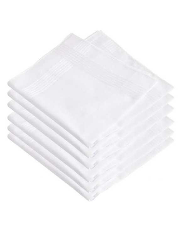 Pack of 6 - White Cotton Handkerchiefs