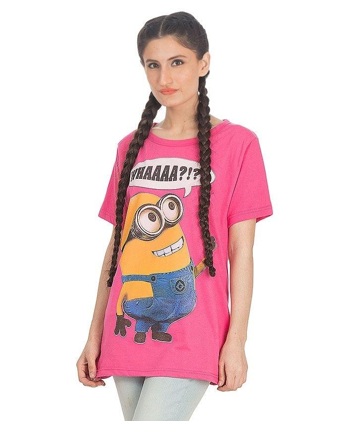 Pink Cotton Despicable Me Printed T-Shirt For Women