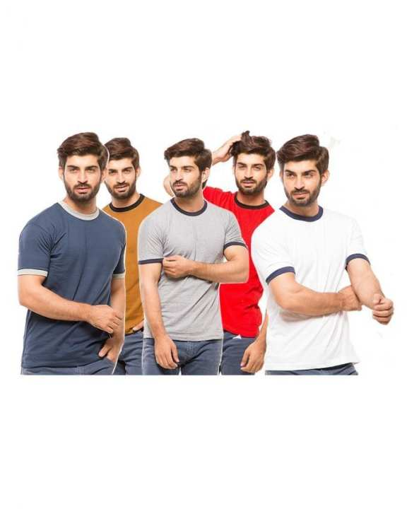 Pack Of 5 - Multicolour Cotton Round Neck Tshirts For Men