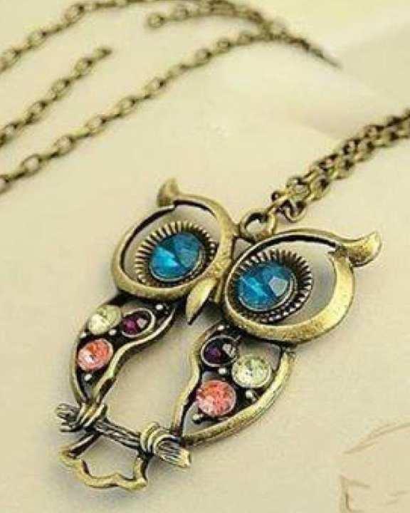 Crystal Big Blue Eyed Owl Long Chain Pendant