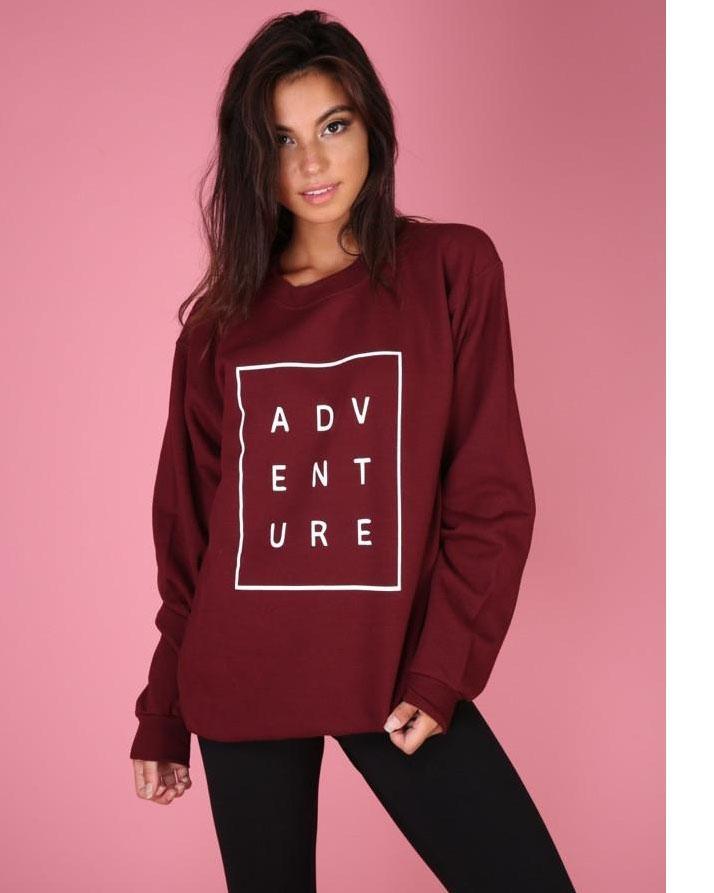 Maroon Fleece Printed Sweatshirt for Women