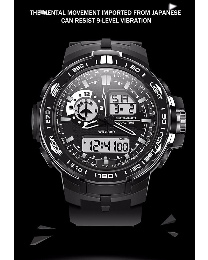 Black Dual Display Army Sports Watch For Men