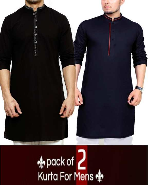 Pack of 2 - Mix Cotton Kurta For Men