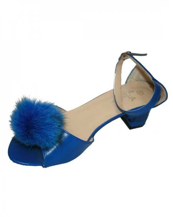 Blue Fur Ankle Strap Heel For Women