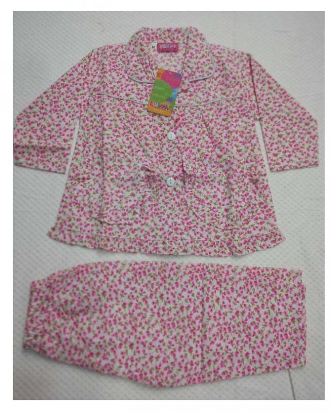 Girls Night Suit-Pink-Cotton-Girls