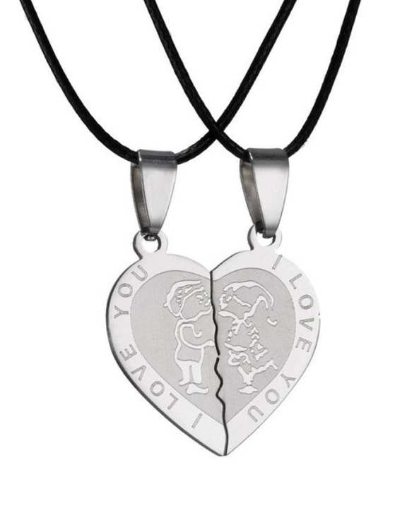 Silver Stainless Steel I Love You Broken Heart Necklace