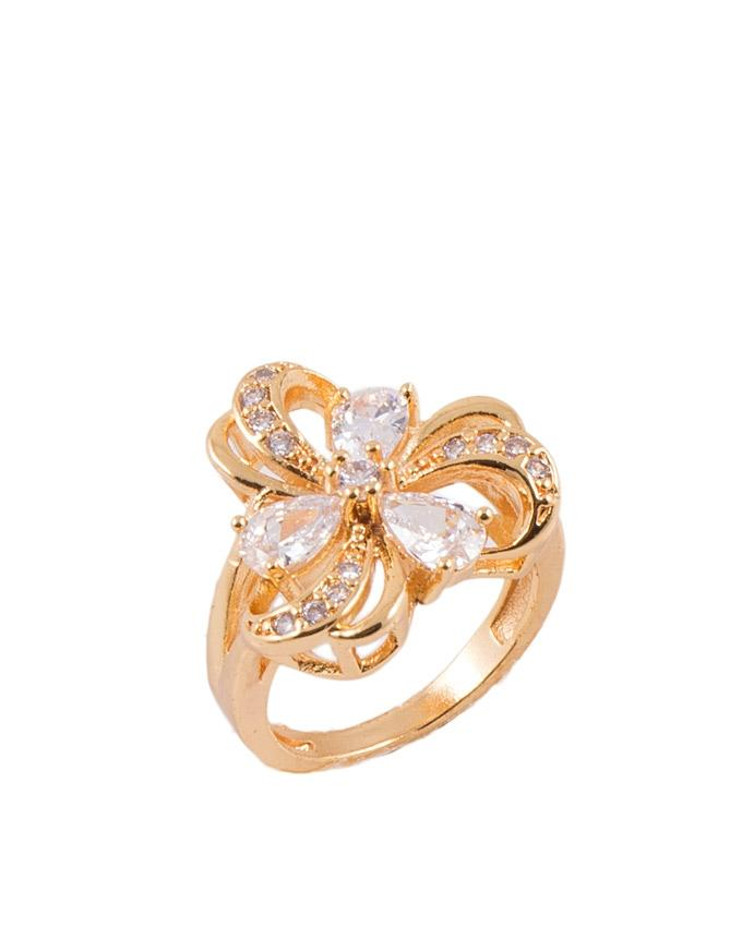 Golden Zircon Studded Ring