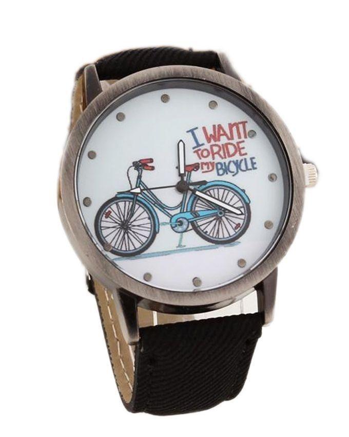 Black Denim Strap Bicycle Watch for Women