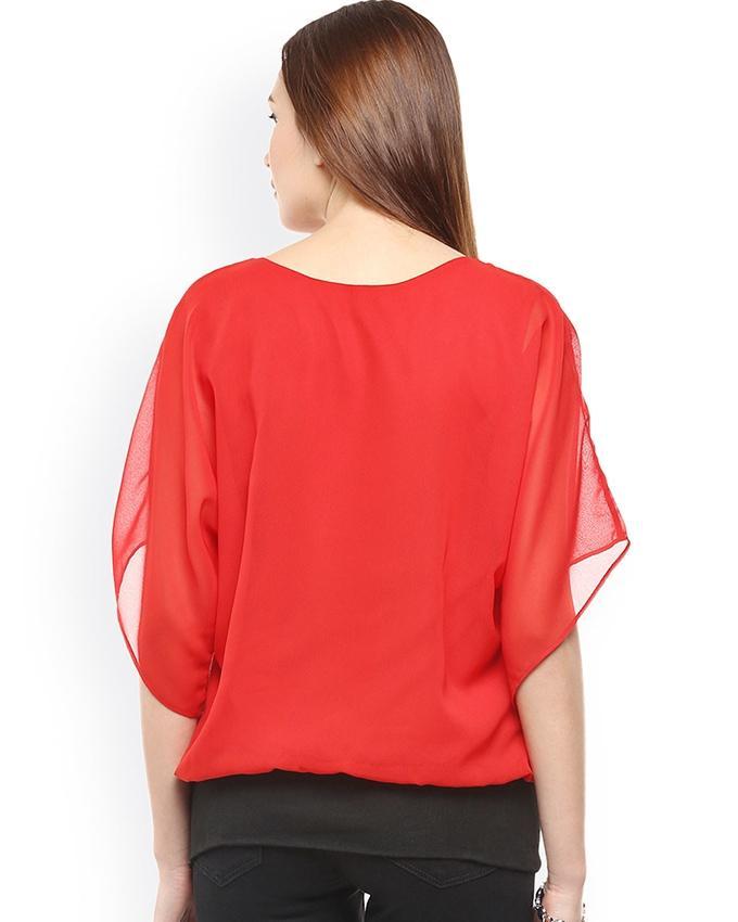Red Chiffon Top For Women