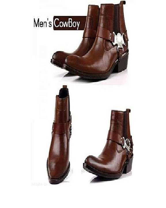 Dark Brown Leather Boots For Men
