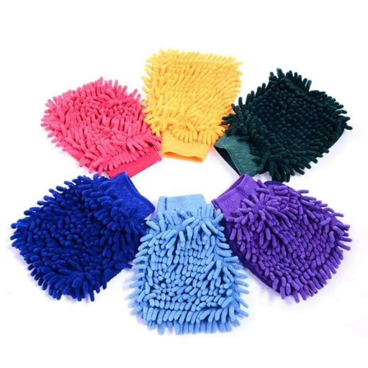2 sided Microfiber washing gloves for cars,windows,wardrobe and tiles etc