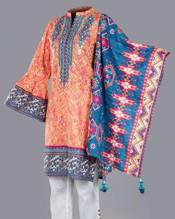 Tarzz-e-Bahar Unstitched Collection Spring Summer 2018 - Golden Poppy - 77115150100000