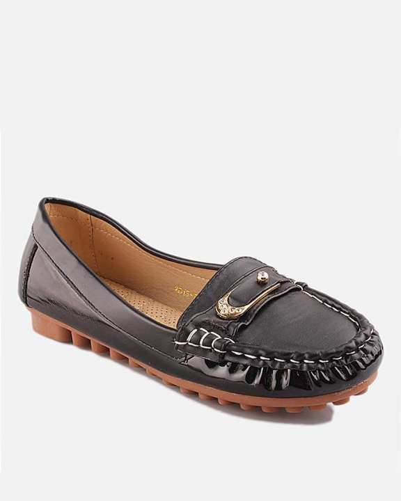 Black Thermo Plastic Rubber & Synthetic Leather Loafers For Women - Nancy 6063