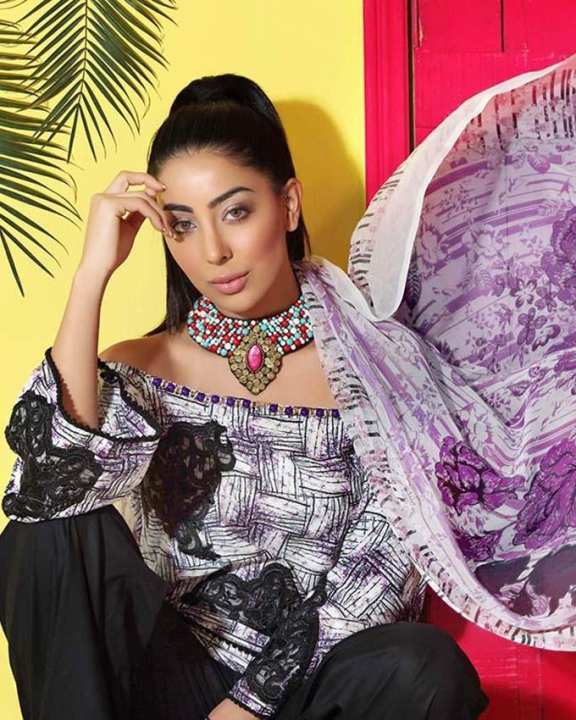 Gul Ahmed - Black Soya Silk Printed shirt with blended chiffon and Embroidered Lace 3PC-Unstitched -  SY-19-158514