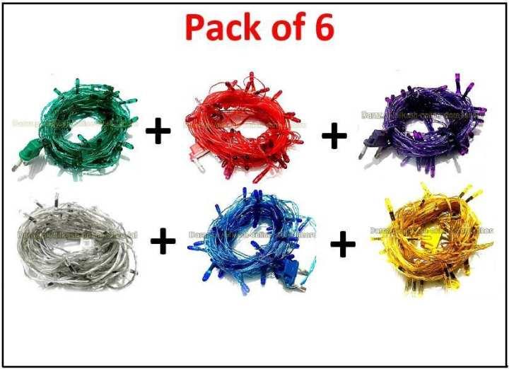 Pack of 6 Fairy LED Light String - 20 Feet - Multi Color