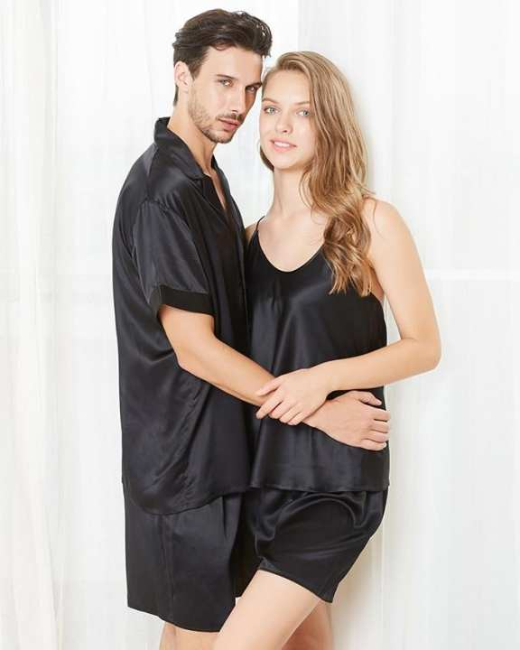 Classic Silk Satin Black Color Couple Pajama Sets