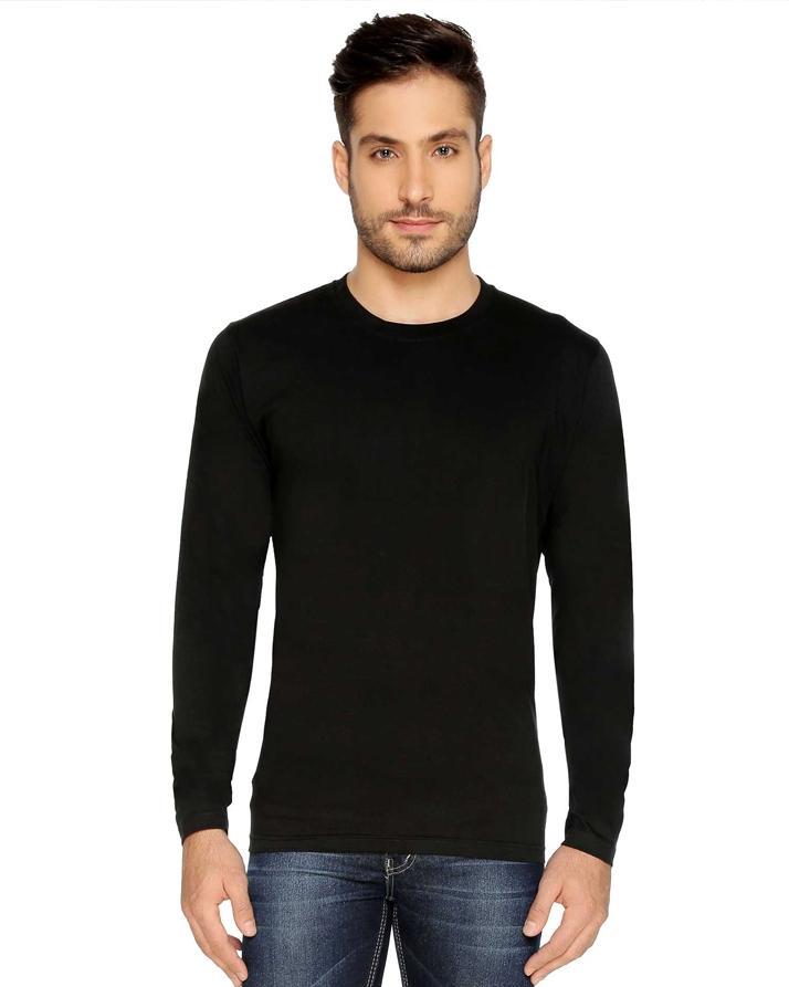 bccc701c1e Product details of Black Plain Full Sleeves Round Neck Cotton T-Shirt For  Men