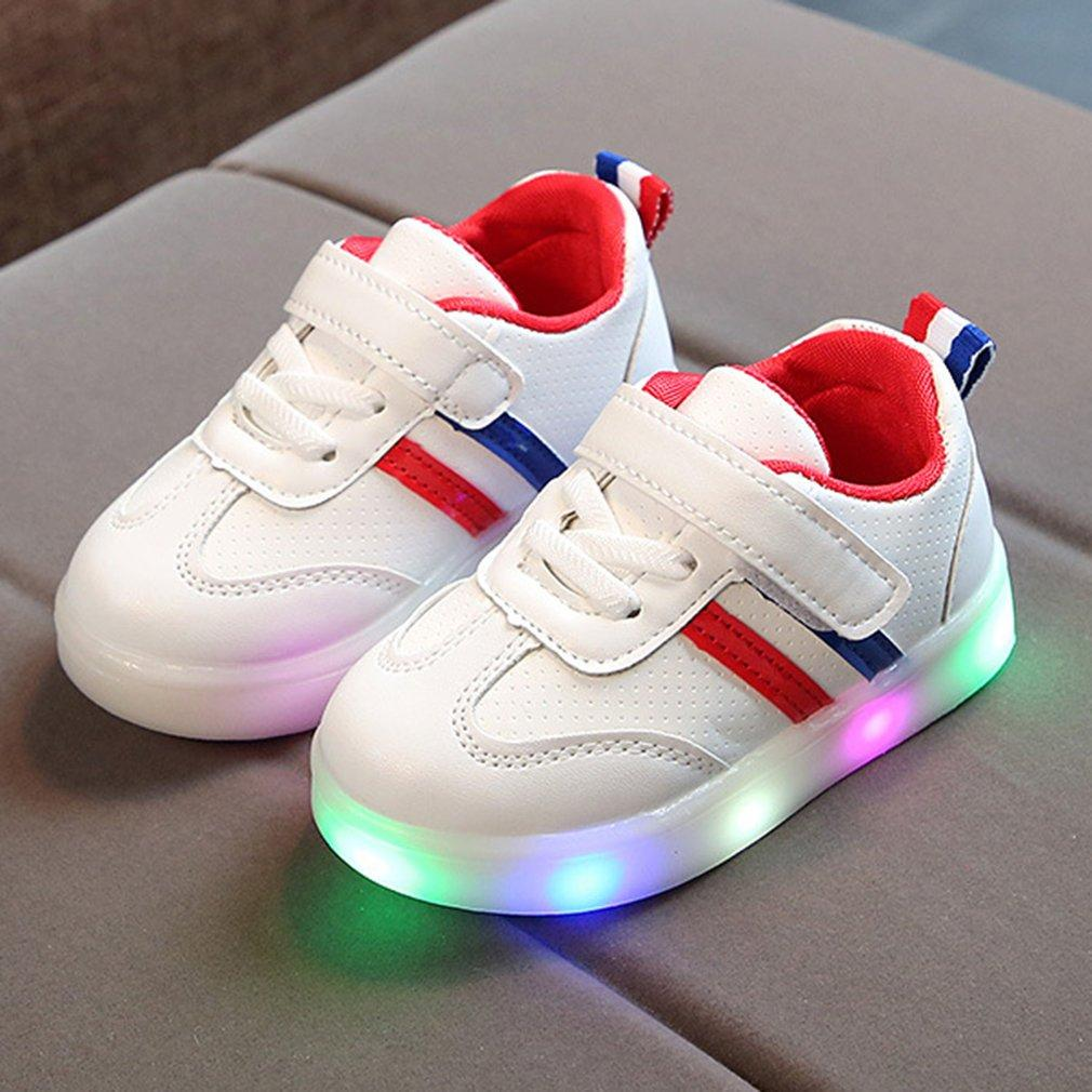 20a6466656870 Luminous Sneakers LED Light Up Shoes Anti-slip Rubber Sole Kids Striped red  21