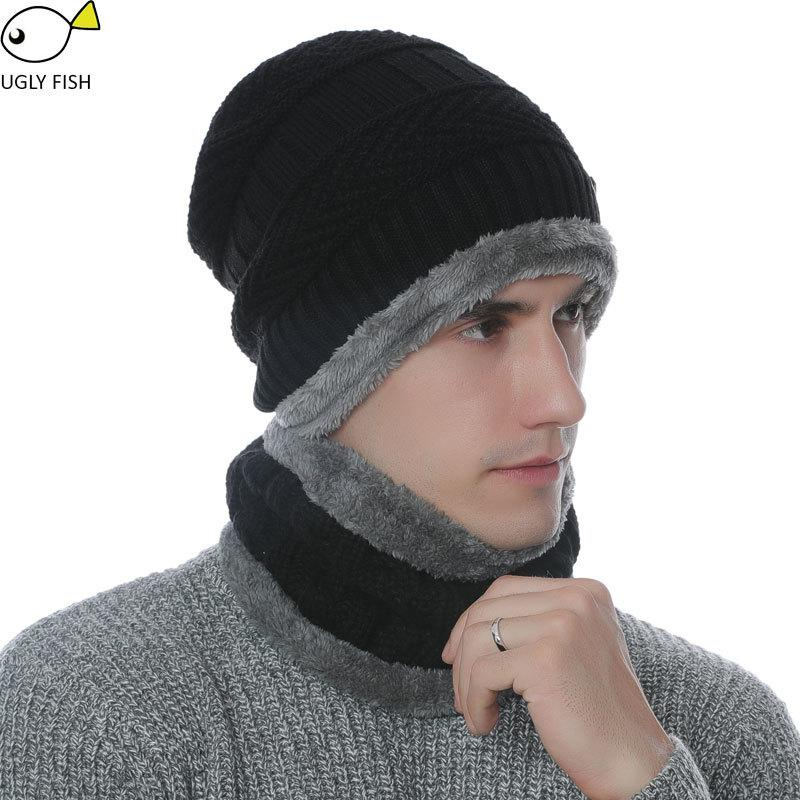 4649d752b Coffee Brown Wool Neck & Hat Knit Cap Scarf for Unisex