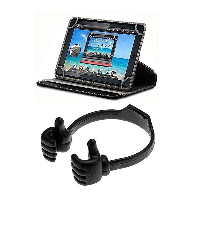 "Pack Of 2 - Universal 7"" Tablet Cover + Hand Tablet Holder - Black"