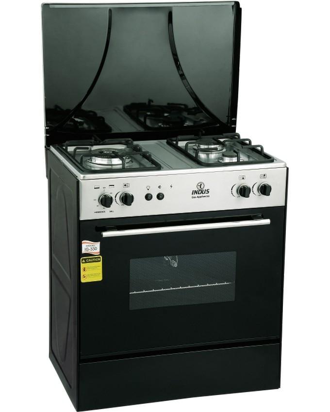 Indus 3 Burner Gas Cooking Range Black Silver